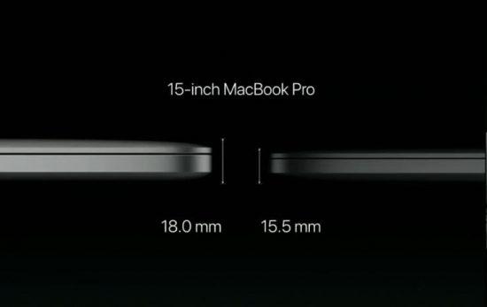 新款15寸MacBook Pro比上一代薄2.5mm