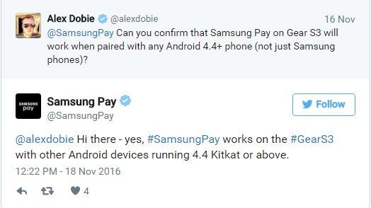 三星Gear S3将支持非自家安卓手机使用Samsung Pay