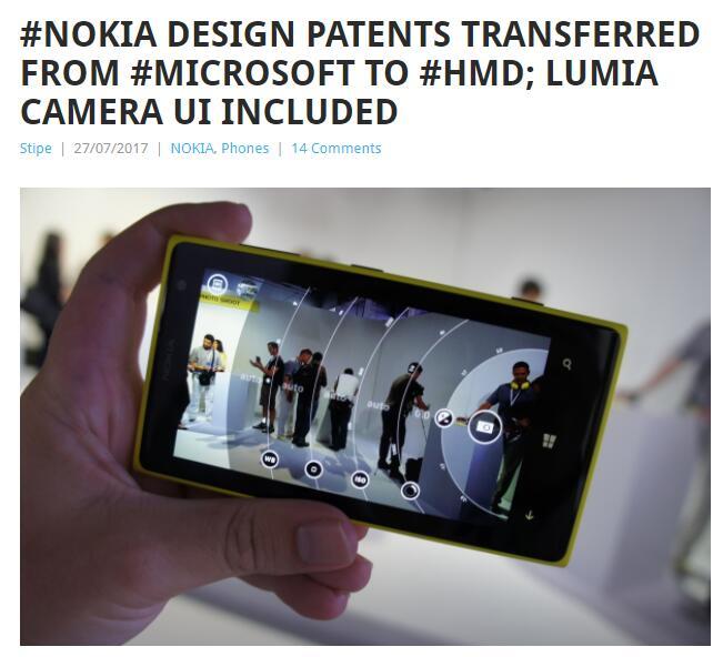 HMD现拥有500项诺基亚设计专利,包括Lumia专业拍摄界面